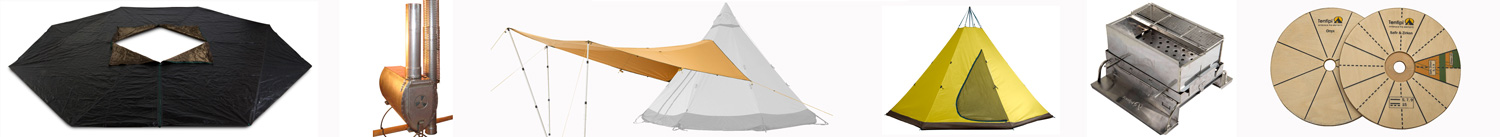 The Range of Tentipi Adventure Tent Accessories